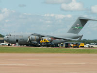 02-1106 @ EGVA - C-17A/7 AS-62 AW USAF/RIAT Fairford (ZJ240 Griffin in foreground) - by Ian Woodcock