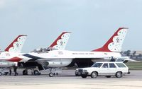 81-0687 @ NBU - Thunderbird F-16 parked before the Chicago Air and Water Show - by Glenn E. Chatfield