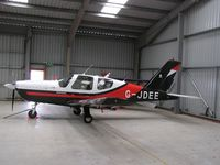 G-JDEE @ EGBG - Trinidad in the hangar at Leicester - by Simon Palmer