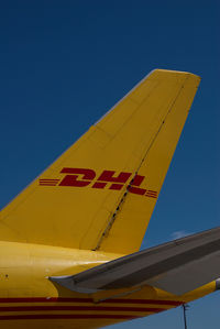 G-BIKL @ LOWW - European Air Transport Boeing 757-200F in DHL colors