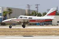 N4463T @ VNY - Roxy Corporation 1972 Piper PA-34-200 Seneca N4463T landing on RWY 16L.  On Monday, June 4th, 2007, this plane crashed into a house on approach to Cable Airport in Upland, CA.  There was no fire and no fatalities.