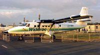 LN-BNH @ EGLF - DHC6 Twin Otter c/n 624 in Wideroe colours at Farnborough Show 1990