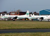 G-ATMJ @ EGNH - Just one of the many HS748s stored at Blackpool