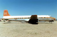 N90MA @ 34AZ - THE DC6 that wore these marks (c/n 43128) was eventually broken up at Chandler Memorial AZ - but not before it had seen service around the world , Delivered to British Commonwealth Pacific as VH-BPH , it then moved on to Air New Zealand as ZK-BFC , before