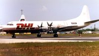 N590HG @ OPF - This DHL Electra had just acquired its America marks  in 2001