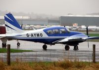 G-AYMO @ EGBW - Pa-23-250 on a wet morning at Wellesbourne