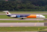 PK-LMY @ WSSS - Originally operated by Continental as N812NY and then N17812 - Myanmar Air now lease this aircraft from Lion Airlines - seen here landing at Singapore in 2005