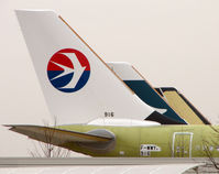 B-6099 @ LFBO - Newly built A330 in green primer with just its tail in China Eastern colours