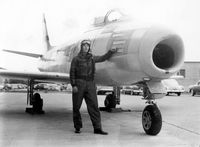 48-273 - Early F-86 (P-86) at the former Lowry AFB - Denver, CO. Airman John Van Dyke pictured.