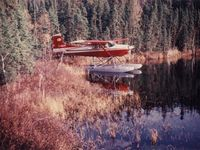 C-GSPK - Cessna 185 on floats at Woodman Lake, northern Saskatchewan ca. 1980 - by Stephen Kristenson
