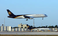N456UP @ MIA - UPS B757 about to touchdown adjacent its home ramp at Miami