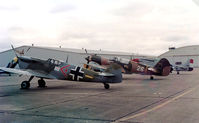 N109W @ HRL - CAF Buchon (Spanish CASA built Me-109) at Harlingen with CAF P-40 and P-51