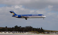 N919ME @ FLL - Midwest Express B717 about to land at FLL