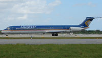 N809ME @ FLL - Midwest Express MD 82 about to depart FLL