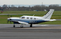 N45PJ @ EGBJ - A visitor to Gloucestershire Airport on the day of the horse racing Gold Cup  at the nearby Cheltenham Racecourse