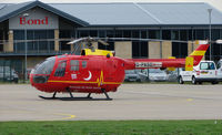G-PASG @ EGBJ - Bolkow Bo 105 in a new colour scheme - by Terry Fletcher