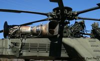 64-14203 - The very exposed T73-P1 turboshafts, and the mighty main rotor - by Paul Perry