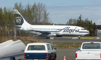 N740AS @ LHD - Alaskan Airlines B737 'retired' outside the Aviation Museum on Lake Hood