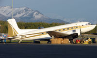 N851M @ ANC - DC3 sits in late evening sun at Anchorage Int