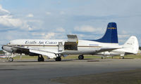 N555SQ @ FAI - Delivered to United Airlines as N37585 in 1957 , operated until 1968 , stored for 3 years at Ryan Field ,AZ before becoming N555SQ with Sis-Q Flying Services and subsequently with Macavia , T & G Aviation , Barron Thomas and Everts Fuel