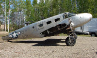 N7379C - This C-45F Expeditor now resides at a PRIVATE lot just off Bradley SkyRanch , North Pole , AK  it is ex 43-35748A