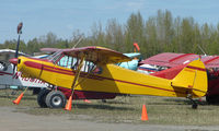 N4981Y @ LHD - 1973 Piper Pa-18-150 (complete with plastic owl on propellor blade ) at Lake Hood