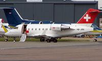 HB-JRA @ EGGW - Swiss Air Ambulance flight back to Luton - by Terry Fletcher