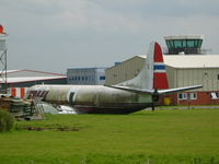 LN-FOL @ EGBE - Lockheed L-188A(F) Electra ex-DHL (Fred Olsen) slowly rotting away at Coventry - by Chris Hall