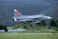 37353 @ LZSL - During the exercise Cooperative Change 98 this Swdish Viggen performed a spectaculair take off. - by Joop de Groot