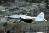 J-3058 @ LSMJ - After take off the F-5 stays well low when it passes the village of Turtmann. What about jet noise..?