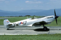 PH-OUQ @ LFSC - The early Dutch Spitfires sported their former British serial and war time codes, but wore this splendid bare metal colors and Dutch roundel.