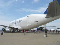 N249BA @ OSH - Boeing 747-409 DREAMLIFTER Very Large Cargo freighter, swing tail for loading, four Turbofans. At EAA AirVenture 2008 occupying most of Aeroshell Square. I need a wider-angle lens! - by Doug Robertson