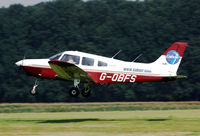 G-OBFS @ EBDT - Landing at Schaffen-Diest for the old timer fly in.