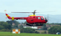 G-CDBS @ EGBJ - Bolkow BO105 noted at Gloucestershire Airport  UK in Sept 2008 - by Terry Fletcher
