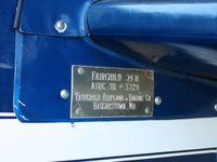 N12120 @ I74 - S/N plate.  On display at MERFI fly-in, Urbana, Ohio. - by Bob Simmermon