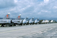 37447 @ LZSL - A wide array of fighters was present during Co-operative Key 1998. Behind the Viggens there are three French Mirage 2000C, four Czech MiG-21, two Rumanian MiG-21 and two Bulgarian MiG-21. - by Joop de Groot