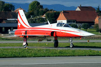 J-3089 @ LSMP - The aircraft of the Patrouille Suise do fly operational missions as well. This one just returns from one.