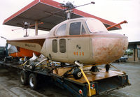 N5H - Bell 47B serial number 3 at a truck stop in Texas - on the way to be displayed in the American Helicopter Museum.
