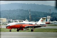 114083 @ RDG - Canadair CT-114 Tutor of Canadian Armed Forces Snowbirds aerobatic team which displayed at the 1976 Reading Air Show.  This was the spare aircraft (ie: No.10) although the rudder does not bear the number as does the other team aircraft. - by Peter Nicholson