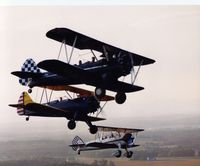 N4786N @ 3VA3 - The First Stearman in formation...Dark Blue with White Starburst - by Vernon Poole Jr.