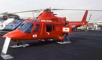 I-DACE @ EGLF - Agusta A.109K-2 Hirundo, EMS-Version for REGA (Switzerland)  at Farnborough International 1990