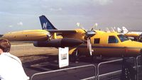 SE-IUA @ EGLF - Mitsubishi MU-2B-26 of NYGE for traget towing  at Farnborough International 1990