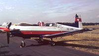 HB-HMN @ EGLF - Pilatus PC-7 of the International Test Pilots School at Farnborough International 1990
