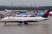 N182DN @ EGCC - Delta B767 taxies out at Manchester UK