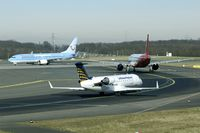 D-ACRB @ EDDL - Line up for take off. In front Air Berlin and Hapag Lloyd. - by Joop de Groot