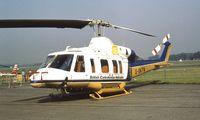 G-BKFN @ EGLF - Bell 214ST of British Caledonian Helicopters at Farnborough International 1982