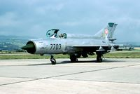 7703 @ LZSL - Shortly before retirement there was a last opportunity to photograph the Slovak AF MiG-21 based at Sliac. - by Joop de Groot