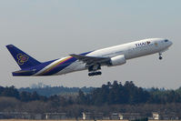 HS-TJD @ RJAA - Thai B777 climbs away from Narita