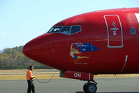VH-VON @ YMHB - Virgin Blue B737 about to depart Hobart