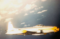 49-769 @ ROAH - F-80 Shooting Star of the 26th FIS on patrol over Okinawa 1952 - photo by unknow pilot on request of John Van Dyke from my collection inherited from the late Mr. Van Dyke - by Zane Adams